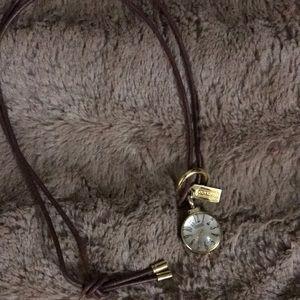 COACH Leather Clock Necklace